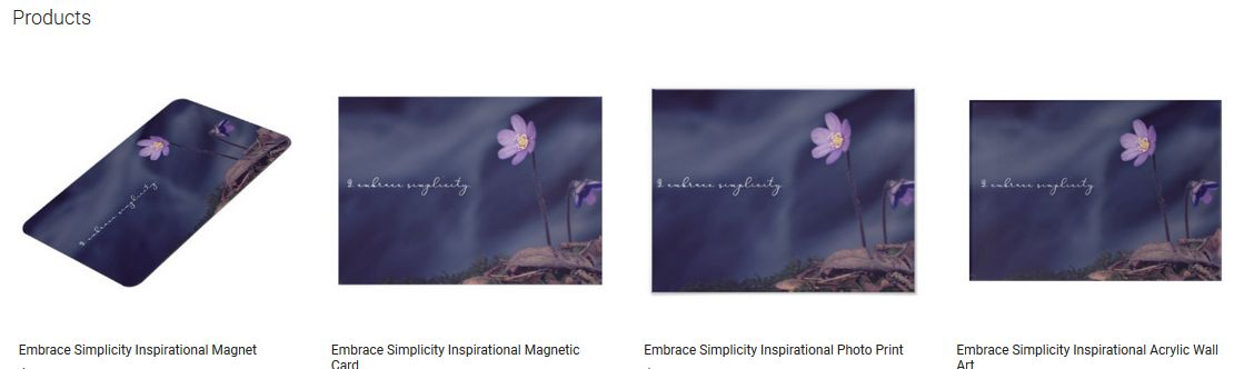 Embrace Simplicity Inspirational Quote Graphic Customized Products
