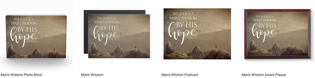 Man's Wisdom by Ralph Waldo Emerson Inspirational Quote Graphic Customized Products