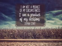 Product Of My Decisions by Stephen Covey Inspirational Quote Graphic