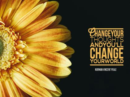 Change Your Thoughts by Norman Vincent Peale Inspirational Quote Graphic