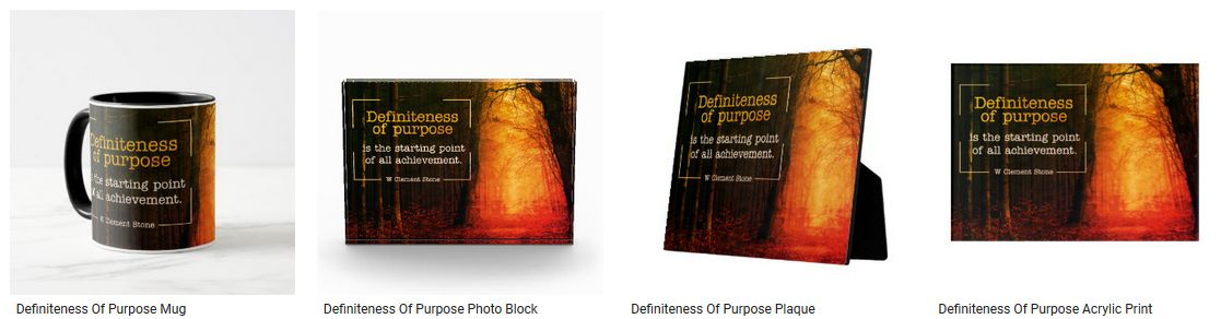 Definiteness of Purpose Inspirational Quote Graphic Customized Products