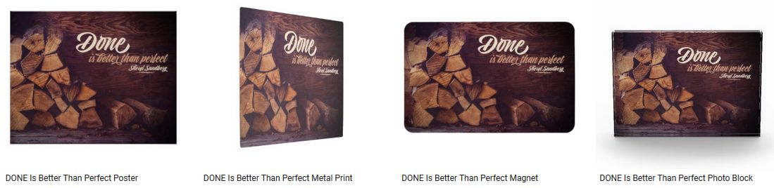 Done Is Better Than Perfect Inspirational Quote Graphic Customized Products