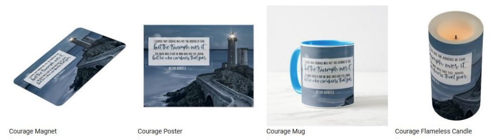 Courage by Nelson Mandela Inspirational Quote Graphic Customized Products
