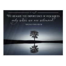 Importance Of Our Voices by Malala Yousafzai Inspirational Postcard (Custom Inspirational Postcard)