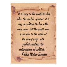 Self-Reliance by Ralph Waldo Emerson Inspirational Postcard (Custom Inspirational Postcard)