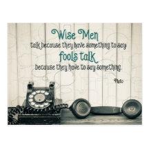 Wise Men Talk by Plato Inspirational Postcard (Custom Inspirational Postcard)