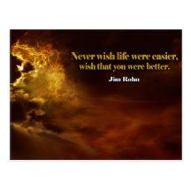 Wish That You Were Better by Jim Rohn Inspirational Postcard (Custom Inspirational Postcard)
