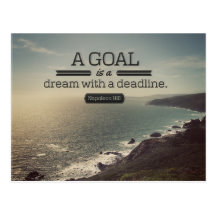 A Dream With A Deadline by Napoleon Hill Inspirational Postcard (Custom Inspirational Postcard)