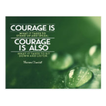 Courage Is What It Takes by Winston Churchill Inspirational Postcard (Custom Inspirational Postcard)