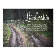 Leadership by Tom Landry Inspirational Postcard (Custom Inspirational Postcard)
