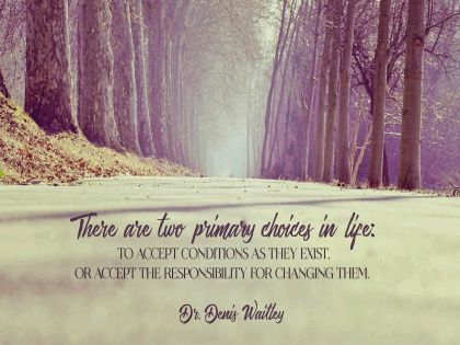 Primary Choices In Life by Dr. Denis Waitley Inspirational Quote Graphic