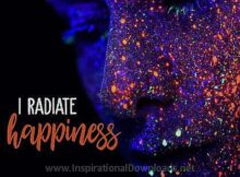 Radiate Happiness (A Positive Affirmation) Inspirational Thought Graphic