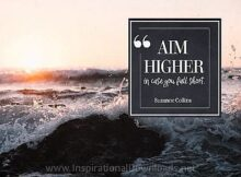 Aim Higher by Suzanne Collins Inspirational Thought Graphic