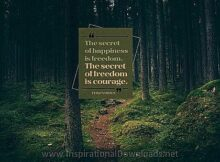 Happiness and Freedom by Thucydides Inspirational Thought Graphic
