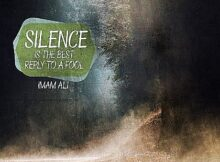 Silence by Imam Ali Inspirational Thought Graphic