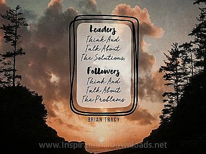 Leaders and Followers by Brian Tracy Inspirational Thought Graphic