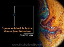 Poor Original by Ella Wheeler Wilcox Inspirational Thought Graphic